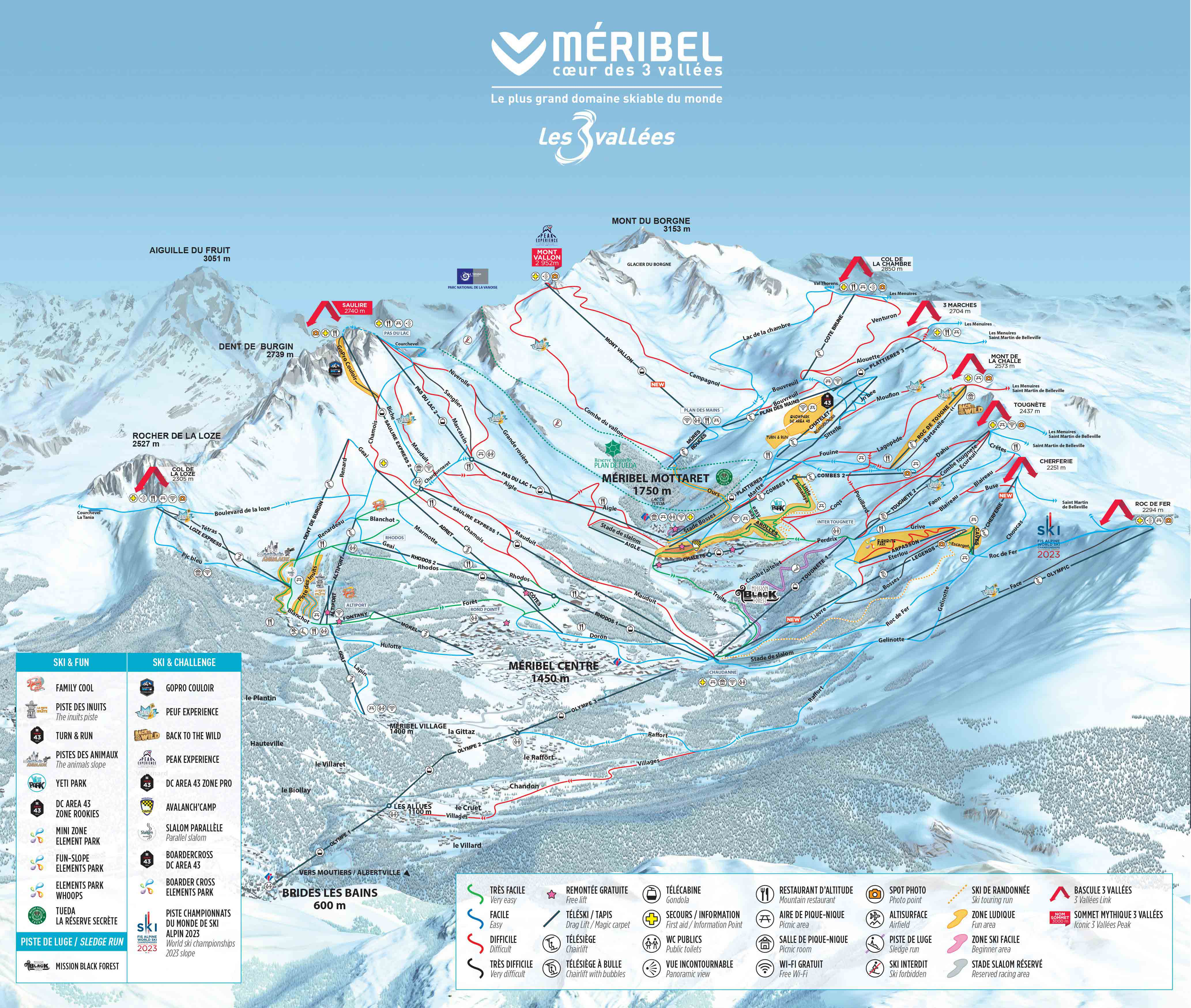 Plan des pistes Méribel et Méribel Mottaret 2018/2019